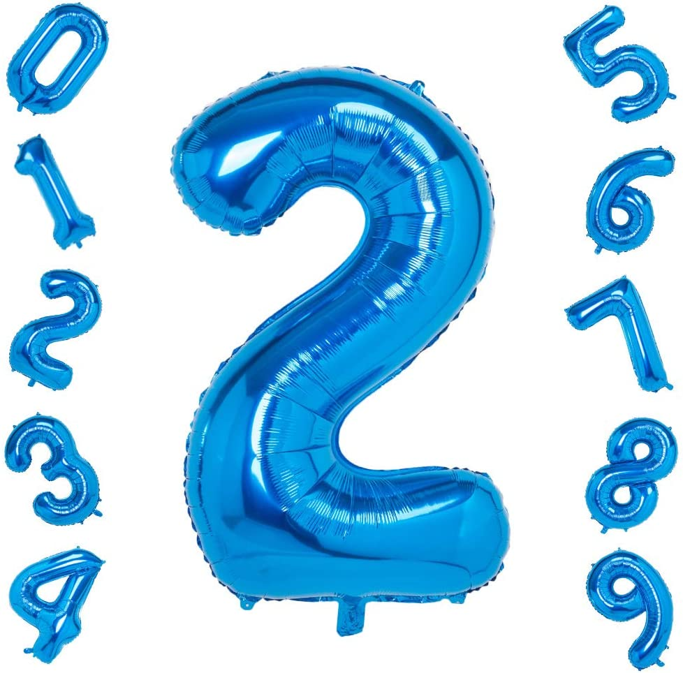 40 Inch Blue Big Number 2 Balloon Birthday Party Decorations Helium Foil Mylar Number Balloon Digital 2