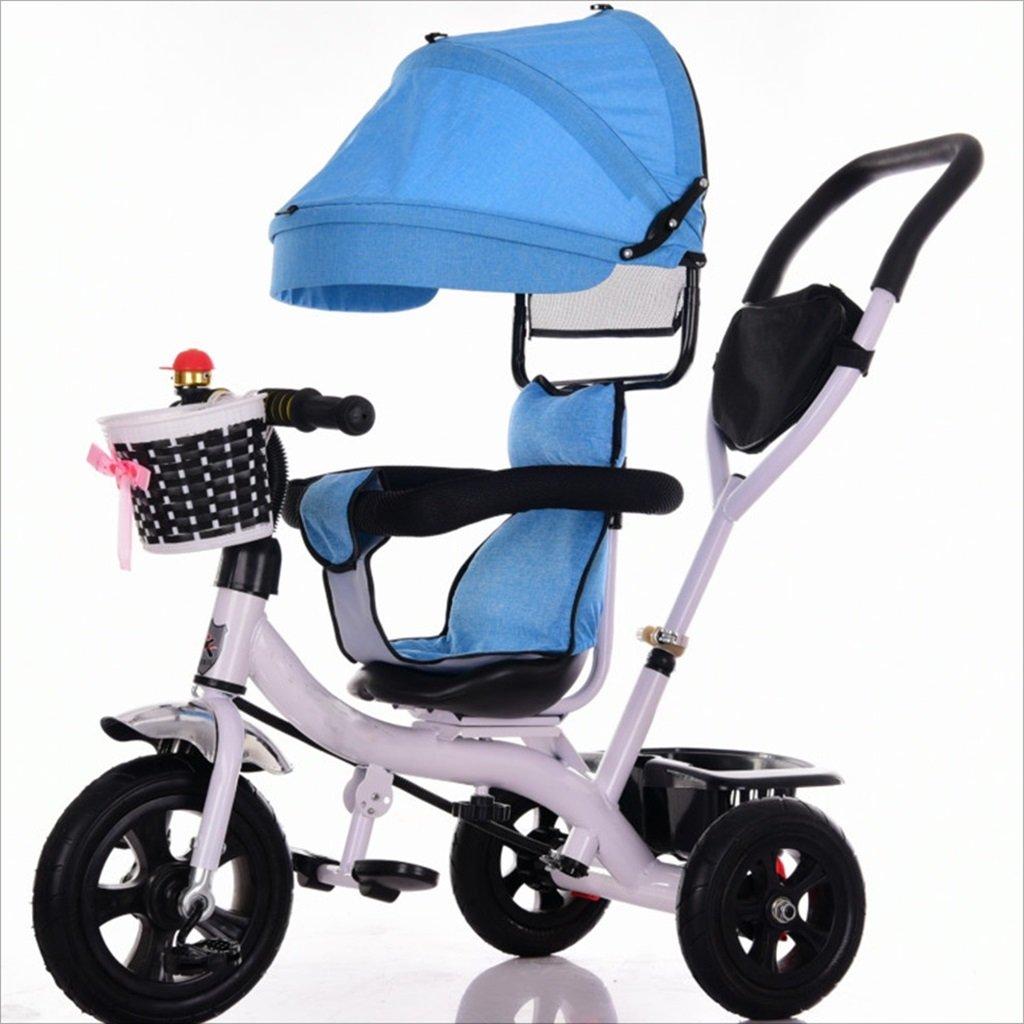 三輪車ベビーキャリッジバイク子供おもちゃトロリーチタンホイール/泡ホイール自転車3ホイール、回転可能な座席(ボーイ/ガール、1-3-5歳) (色 : 青, サイズ さいず : B) B07DVKB1MF B|青 青 B