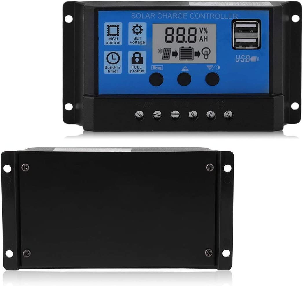 Zinniaya Contr/ôleur Solaire de r/égulateur de Charge de Batterie /à Double /écran USB 12V 24V 10A de contr/ôleur de Panneau Solaire