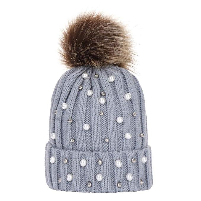 Snowbuff-cappello per Bambini Berretto Invernale con Grande Invernali in  Lana per Ball Lavorato a Maglia con Cappellino da Big Sci Snowboard Moda  Perla ... 5963e9c0717d