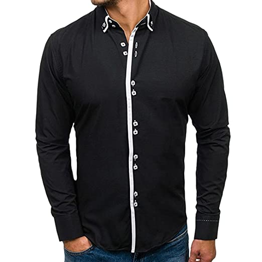 5b93c9988bf WM   MW Men s Shirt Slim Fit Long Sleeve Casual Solid Fashion Button Dress  Shirt Top