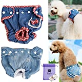 Bolbove 2pcs Jeans Female Pet Diapers for Small to Medium Girl Dogs Adjustable & Washable Sanitary Panties (Blue Jeans+Red Plaid, Medium)