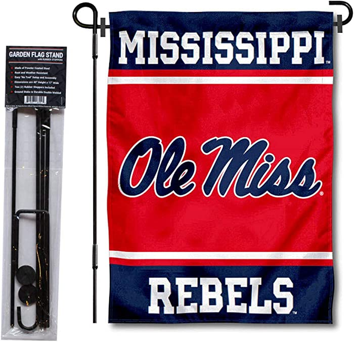 College Flags & Banners Co. Ole Miss Garden Flag with Stand Holder