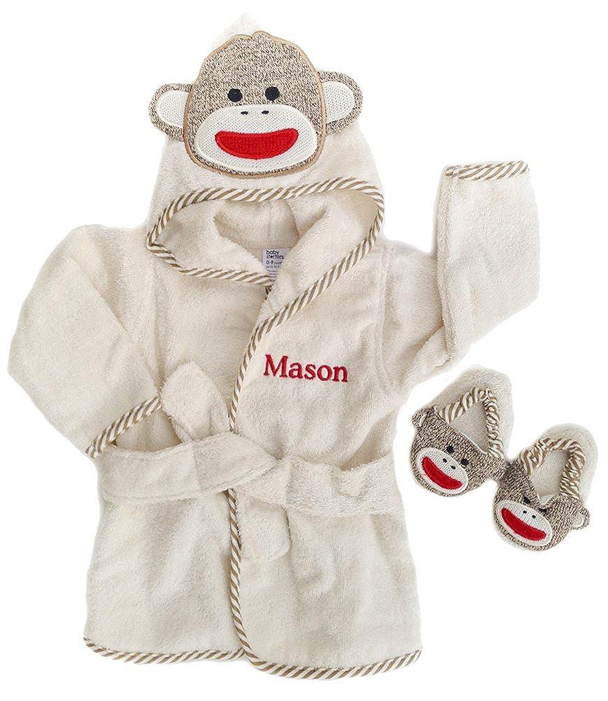 PERSONALIZED Monogrammed Sock Monkey Terry Hooded Bath Robe & Slipper Set Sz 0-9 Mo