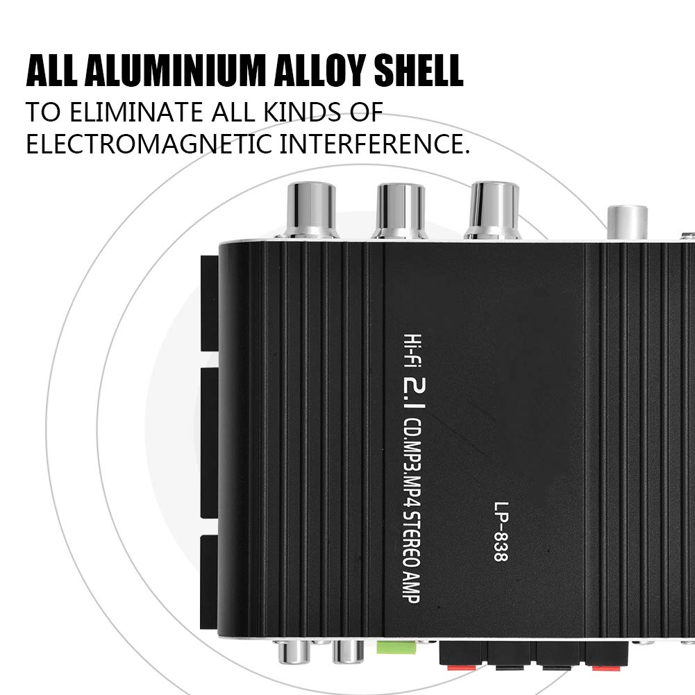 Mini Stereo Amplifier Silver ASHATA Hi-Fi Audio Amplifier Digital Amp Mini HiFi 2.1 Stereo Bass Auto Car Home Audio Power Amplifier with RCA /& 3.5mm Audio Input,Two Pairs of Speaker Output Clips