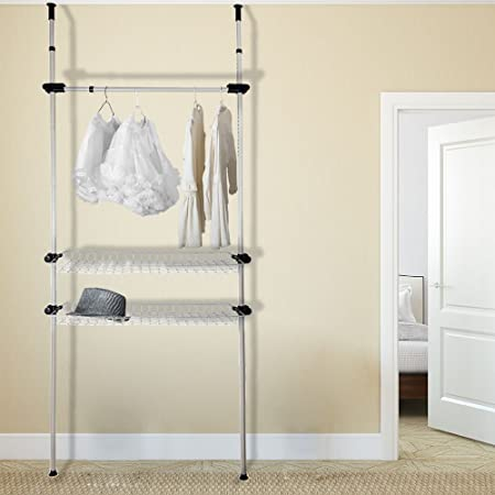 TopHomer Telescopic Garment Rack Wardrobe Organiser Coat Clothes Rail Hanging Adjustable Storage Shelving Stand With 2