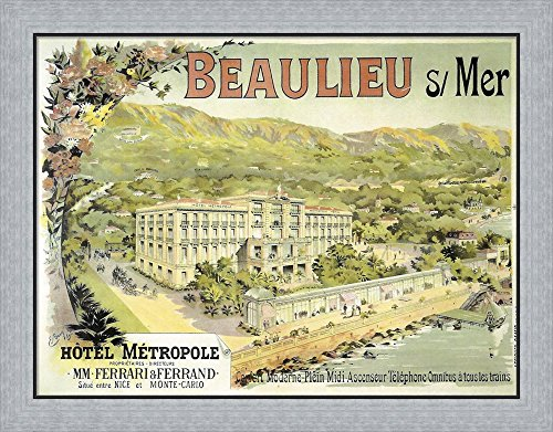 Hotel Metropole by Vintage Apple Collection Framed Art Print Wall Picture, Flat Silver Frame, 30 x 24 - Metropol Collection