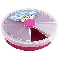 Primeway Wham Round Organiser Plastic Box with 8 Divisions, 19x19x4cm, Pink