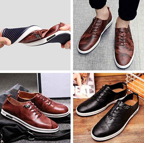 Shoes Loafers On Gaorui Casual Men Flat Brown Walking Moccasins Leather Shoes Soft Comfy Dress Slip Driving Formal qzYqvwf