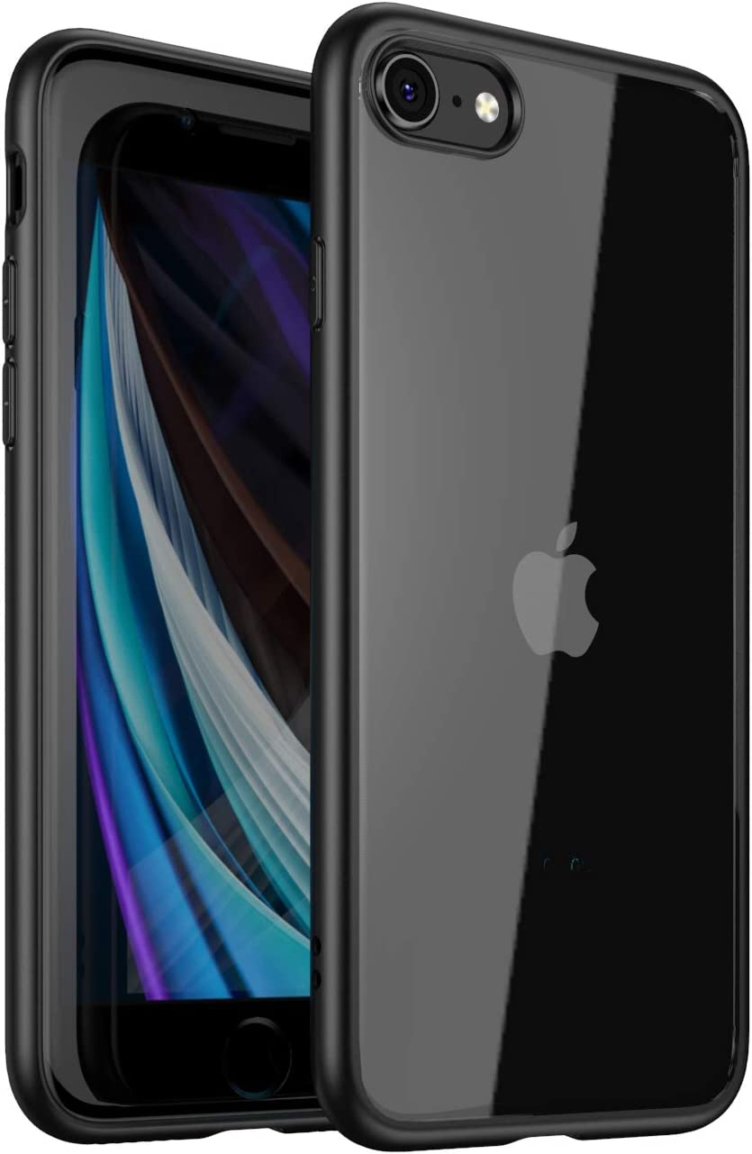 Fotrust Case for iPhone SE 2nd Generation, Shockproof Bumper Cover, Anti-Scratch Clear Back, HD Clear Compatiable with iPhone 7,iPhone 8 4.7 inch (Black)