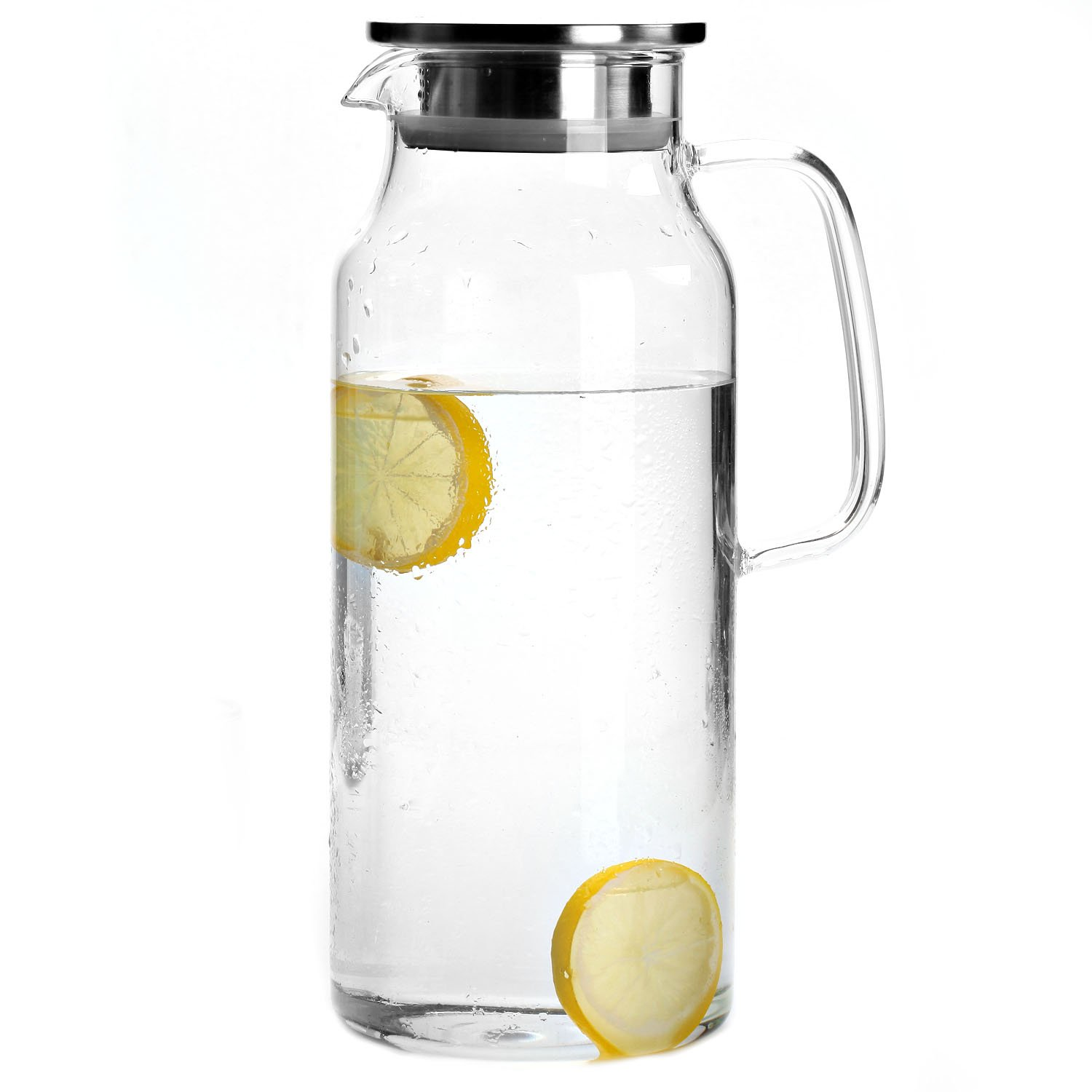 Cupwind 68 oz Borosilicate Glass Hot/Cold Water Carafe Tea Pitcher with Stainless Steel Infuser Lid