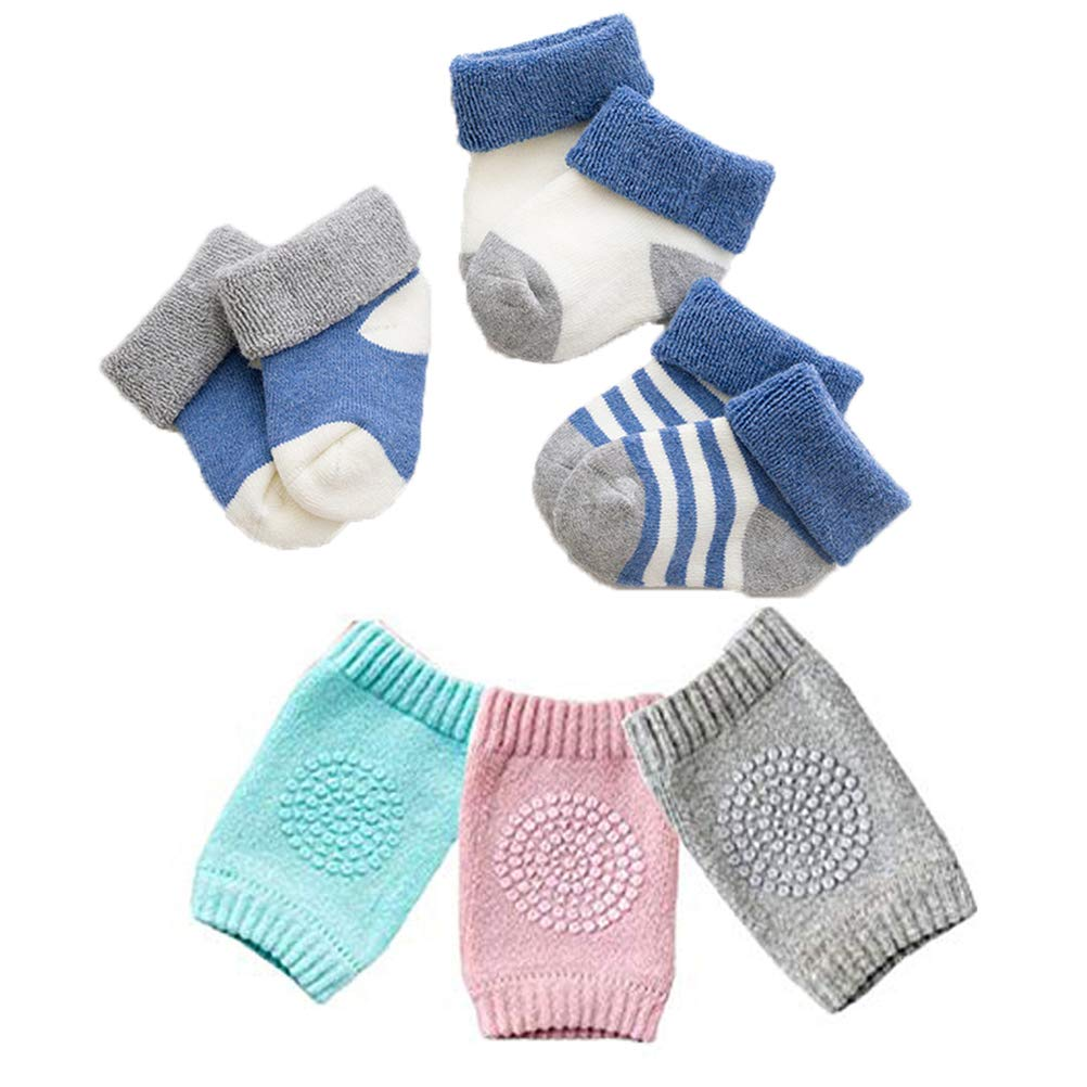,Warm socks Lightton Baby Knee Pads for Crawling High Elastic Anti-Slip and Protect infants Elbows and Legs for Boys and Girls 3 Pairs 3 Pairs