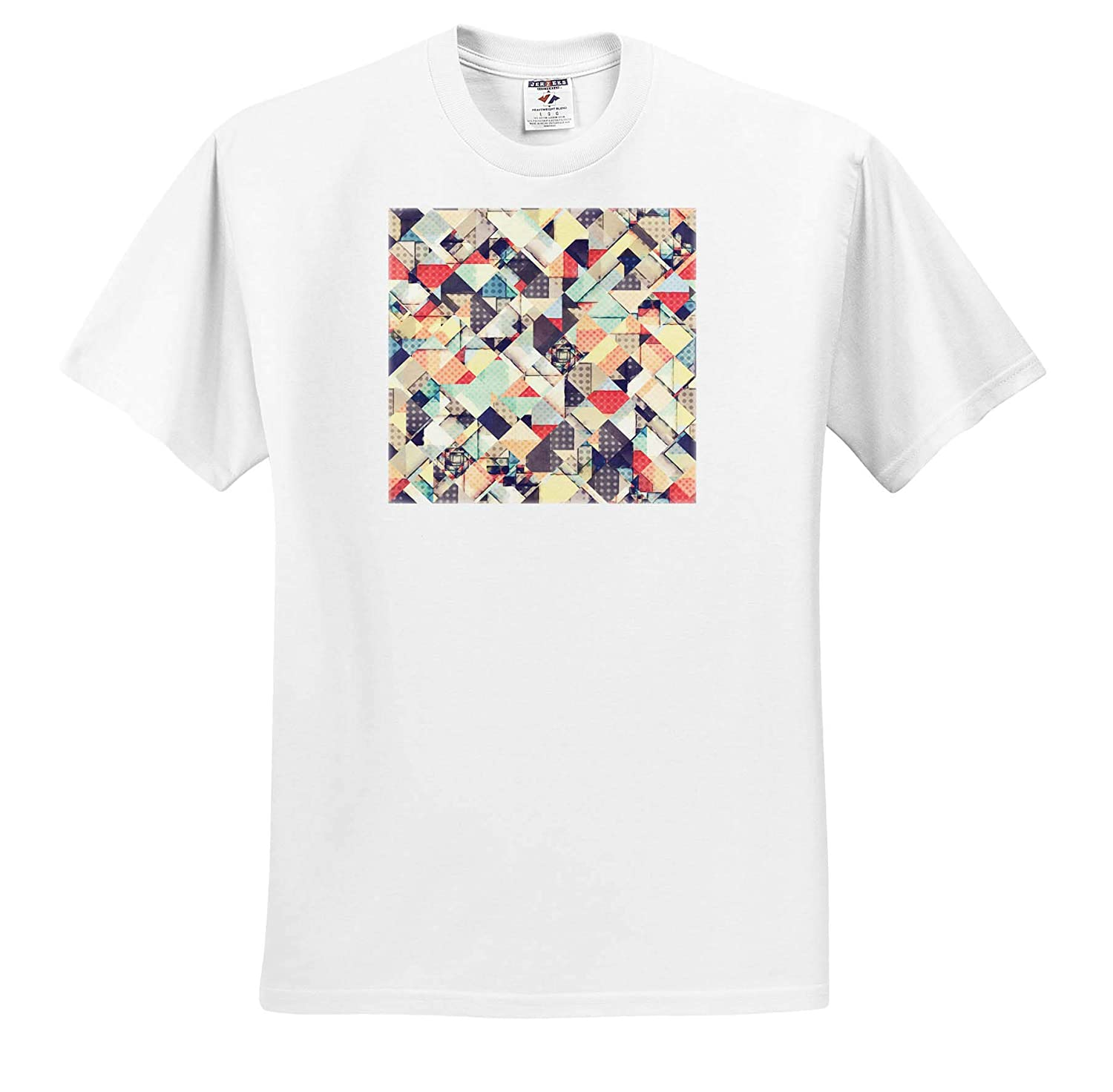 Colors and Geometry Abstract Quilted Style of Graphic Design with Texture T-Shirts Abstract 3dRose Perkins Designs