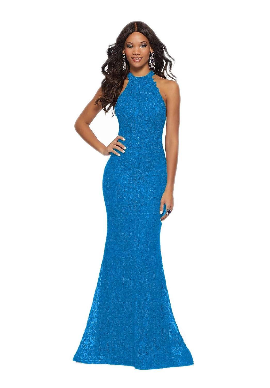 bluee Jerald Norton Ltd Women's Halter Neck Lace Applique Dress Sexy Mermaid Open Back Prom Dresses