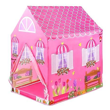 LY Casitas para Niños Tienda de Campaña Castillo Princesas Playa Carpa Jardin Plegable Regalos Cumpleaños Niños Niñas (Rosa)