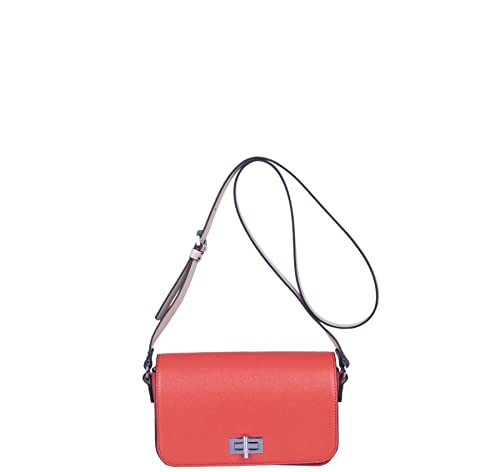 972dadc135 Kesslord Dice SF PKNT Women s Two-Tone Saffia Satchel Bags in Saffiano  Leather Paprika Natural  Amazon.co.uk  Shoes   Bags