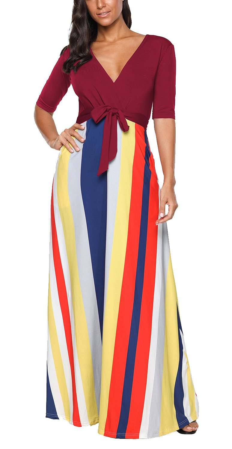 ICEbear Half Sleeve Maternity Maxi Dress for Women Long Flowy Ruched Casual Gown