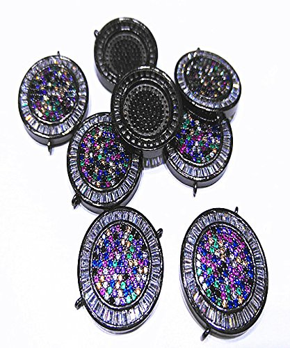 - 2pcs20mm Rainbow Micro Pave CZ Round DISC Coin Spacer Beads,Rhinestone Pendant Connector Jewelry Accessories Charms Findings
