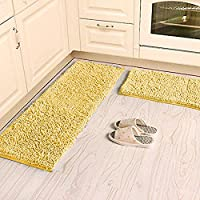 Ustide Shaggy Chenille Rug 2-Piece Kitchen Rug Set Washable Yellow Bathroom Mat Anti-Slip Absorbent Floor Rugs Carpet