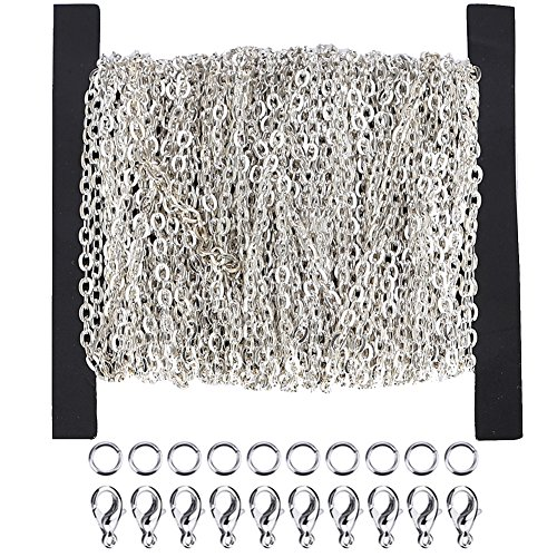 WUBOECE Dcatcher 39 Feet Curb Chain Necklace Bulk Cable 2mm Width with 30 Lobster Clasps and 100 Open Jump Rings for Jewelry Making, -