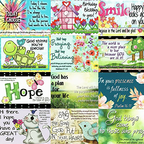 Pass It on Inspirational and Uplifting Message Cards with Scripture - Package of 24 Assorted Cards (Bright & Colorful)