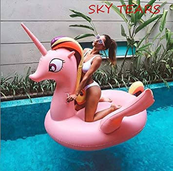 SKY TEARS Hinchable Unicornio, Colchonetas Piscina Flotador Unicornio para Adultos Fiesta de Piscina