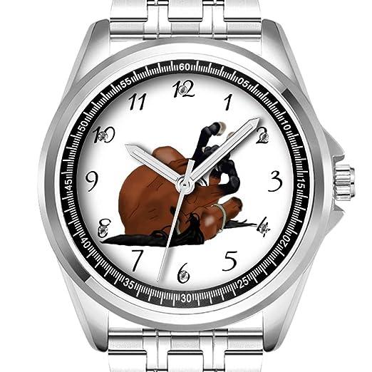 Reloj de Pulsera Personalizado para Hombre, Resistente al Agua, Diamante, 435,5 con Dibujo Digital de bahía o Caballo marrón Enrollado en la Espalda: ...