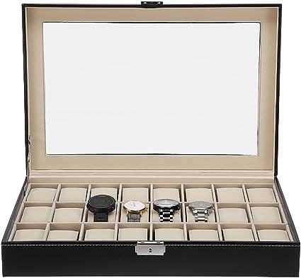Cajas para Relojes Estuche de Relojes 24 Compartimentos para joyero Relojes: Amazon.es: Relojes