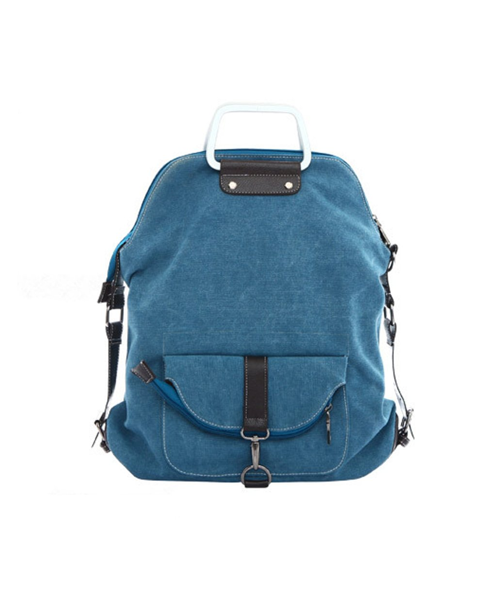 Flowertree Canvas Backpack Convertible Tote Crossbody Shoulder Bag (blue)