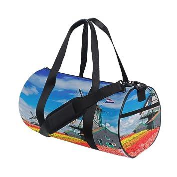 9361362250 Wooden Windmill Flower Road Custom Multi Lightweight Large Yoga Gym Totes  Handbag Travel Canvas Duffel Bags