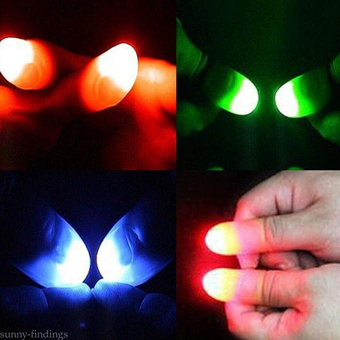 LN/_ 2Pcs LED Light up Finger Thumb Tips Kuso Prank Magic Party Trick Props Toy