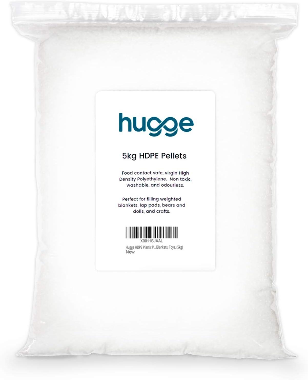 Hugge - Perlas de relleno de mantas pesadas, plástico HDPE, seguro para el contacto con alimentos, perfecto para mantas pesadas, almohadillas de regazo y juguetes. 5 kg