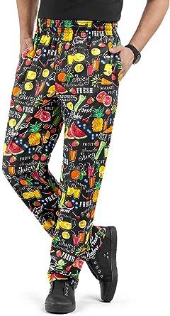 Amazon Com Pantalones De Chef Para Hombre Con Estampado De Los Agricultores Xs 3x Ajuste Holgado Tradicional 100 Algodon Cintura Elastica Clothing