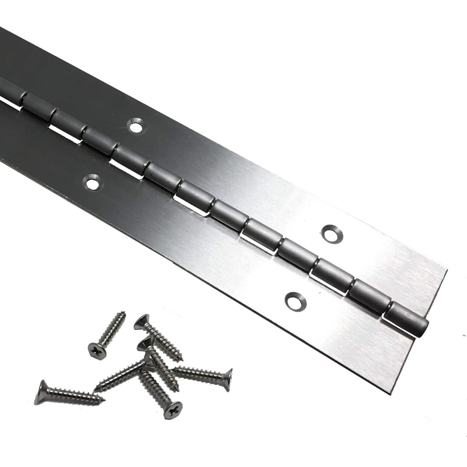 Heavy Duty 2'' x 72'' Stainless Steel Piano Hinge - .060'' Thick - ¾'' S.S. Screws Included
