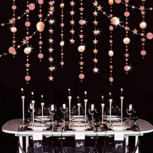 39Ft Mirror Rose Gold Birthday Party Decoration Wedding Baby Shower Hanging Stars Party Decor Star Streamers Circle Polk Dot Garland Banner for Starry Twinkle Twinkle Little Star Party Wall Décor