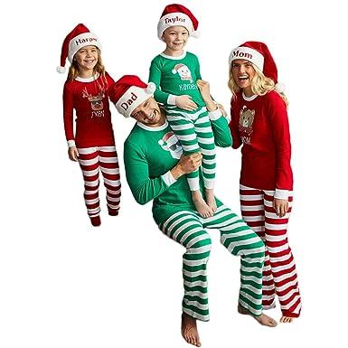d200113e06 Amazon.com  Matching Family Pajamas PJS Sets Christmas Sleepwear Striped  Homewear Nightwear Adults Boys Kids Pajama Set Outfit  Clothing