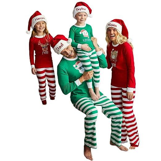 3ce831072291 Christmas Matching Pajamas Family Set Santa Claus Printing Tops and ...