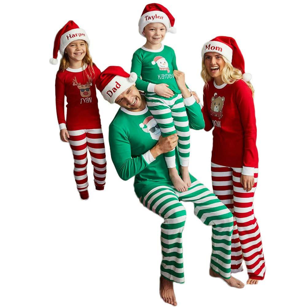 Kids Family Pajamas Outfits,Fineser Kids Baby Girl Boy Snowman Letter Print Tops+Stripe Pants Family Pajamas Sleepwear Christmas Set (Green, 6 Years(L))