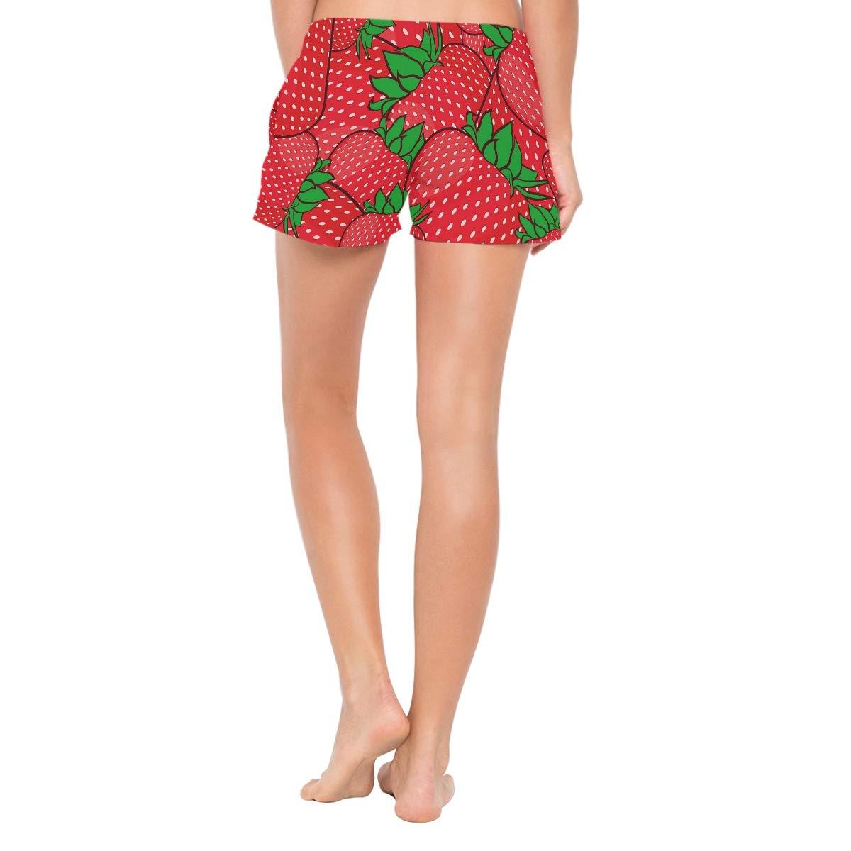 Women Swim Trunks Summer Strawberries Pattern Red Beach Board Shorts