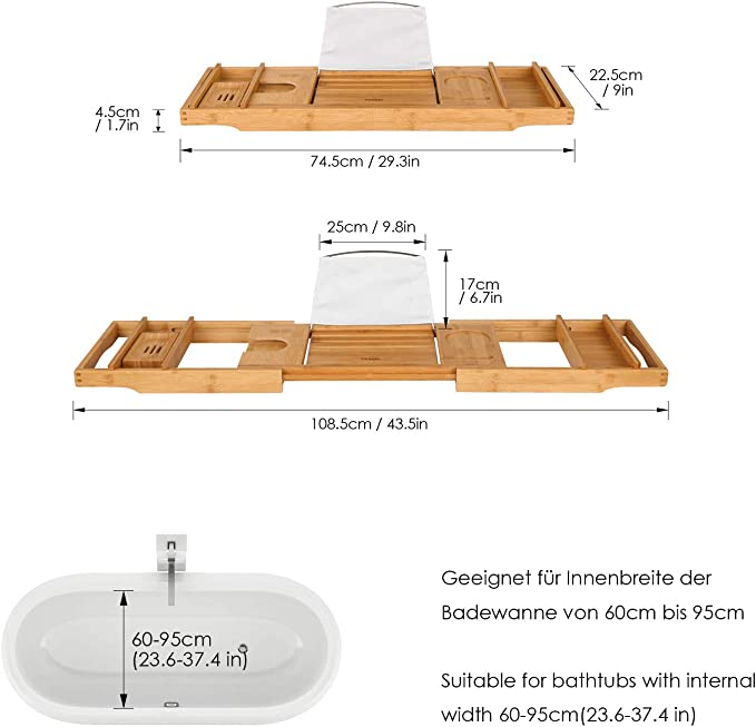 Homfa Bandeja Ba/ñera de Bamb/ú Bandeja de Ba/ño Extensible con Soporte para Vaso Jab/ón M/óvil ipad Libro (74.5-108.5)x22.5x.4.5cm