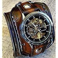 Steampunk Reloj de muñeca de cuero para hombre con esqueleto, marrón envejecido