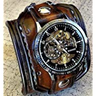 Steampunk Leather Wrist Watch, Skeleton Men's watch, Aged brown Leather Cuff, Bracelet Watch,...