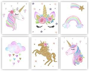 Unicorn Wall Posters Rainbow Unicorn Canvas Wall Art Prints Painting Girls KidsBedroom Nursery Glitter Wall Decor (Unframed)