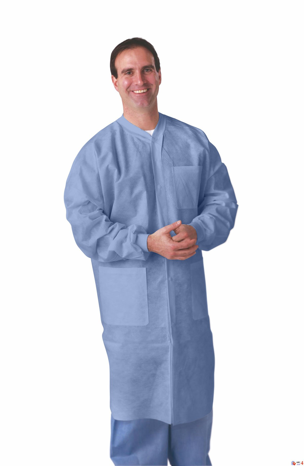 Medline NONSW600XL Knit Cuff/Knit Collar Multi-Layer Lab Coat, X-Large, Blue (Case of 30)