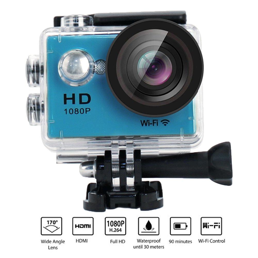 Action Camera W9 Wifi 12mp 170 Degree 1080p 2 inc LCD Digital 30M Waterproof WiFi Remote Control Car Bike Helmet Sports Action Camera Set (Blue)