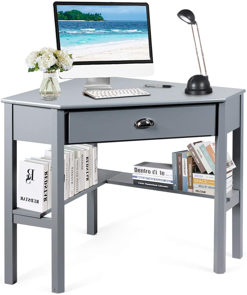 Tangkula Corner Desk, Corner Computer Desk, Wood Compact Home Office Desk, Laptop PC Table Writing Study Table, Workstation with Storage Drawer Shelves Grey