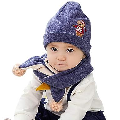 54d14e02e DORRISO Linda Bebe Navidad Cuerno Gorro con Bufanda Otoño Invierno Calentar  Sombrero de Niño para bebé de 0-6 años  Amazon.es  Ropa y accesorios
