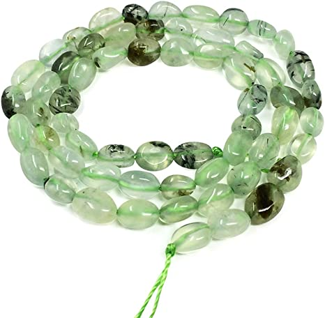 Natural Green Prehnite Faceted Bead Chunky Beads Middle Drilled Vertical Hole