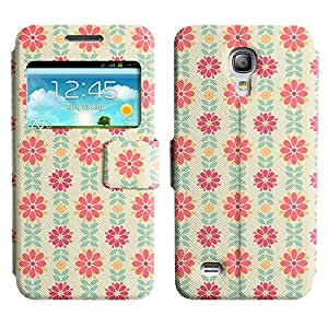 AADes Scratchproof PU Leather Flip Stand Case Samsung Galaxy S4 MINI ( Pink Flower )