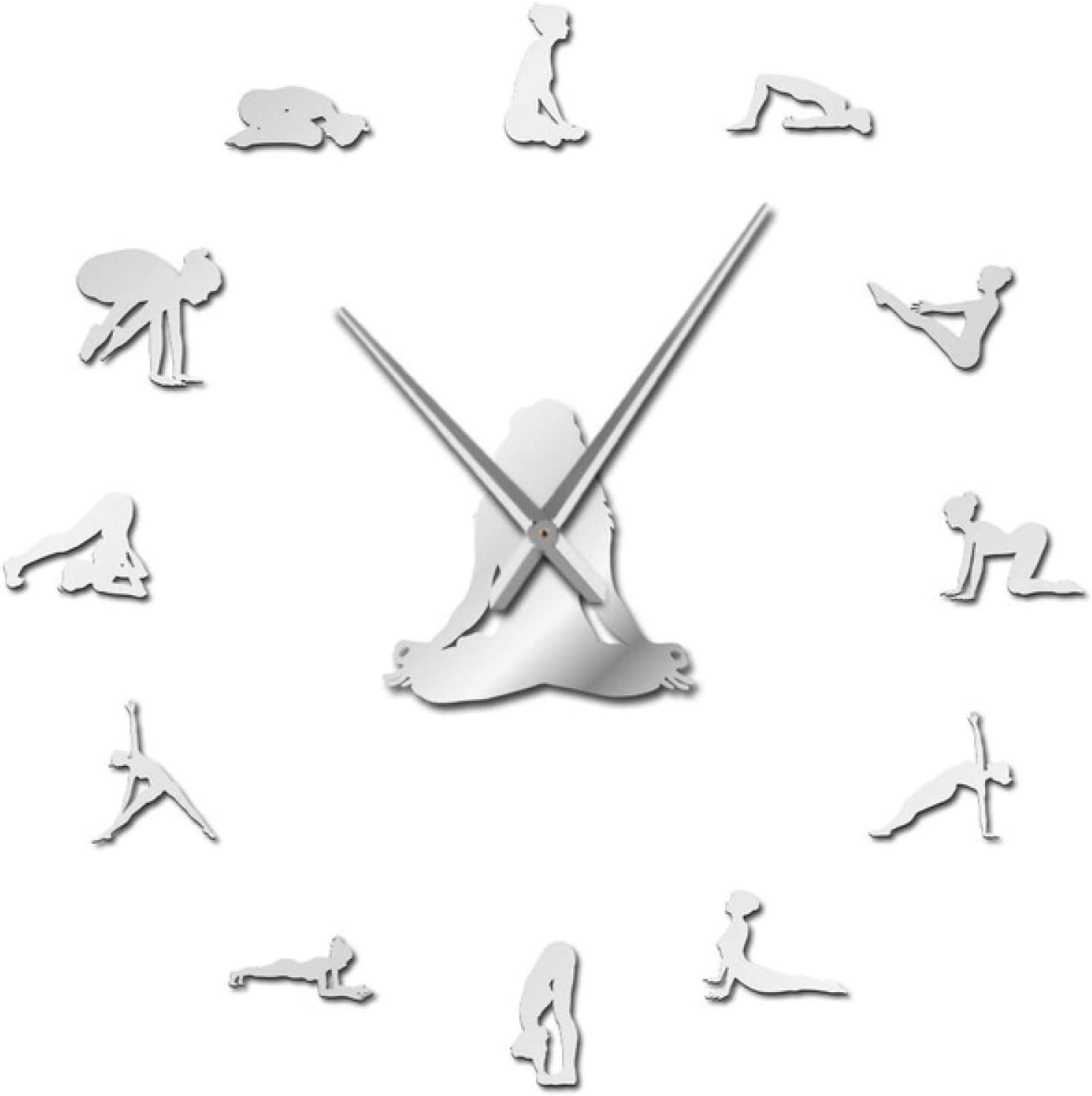 Xinxin Wall Clock Yoga Girl Design DIY 3D Acrylic Wall Clock Special Clock Fashion Home Decor Self Adhesive Quartz Mirror Sticker Gift for Her for Living Room and Bedroom Etc